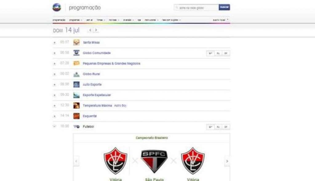 Site Da Rede Globo Erra Escudo Do Vitoria Em Programacao Bahia No Ar