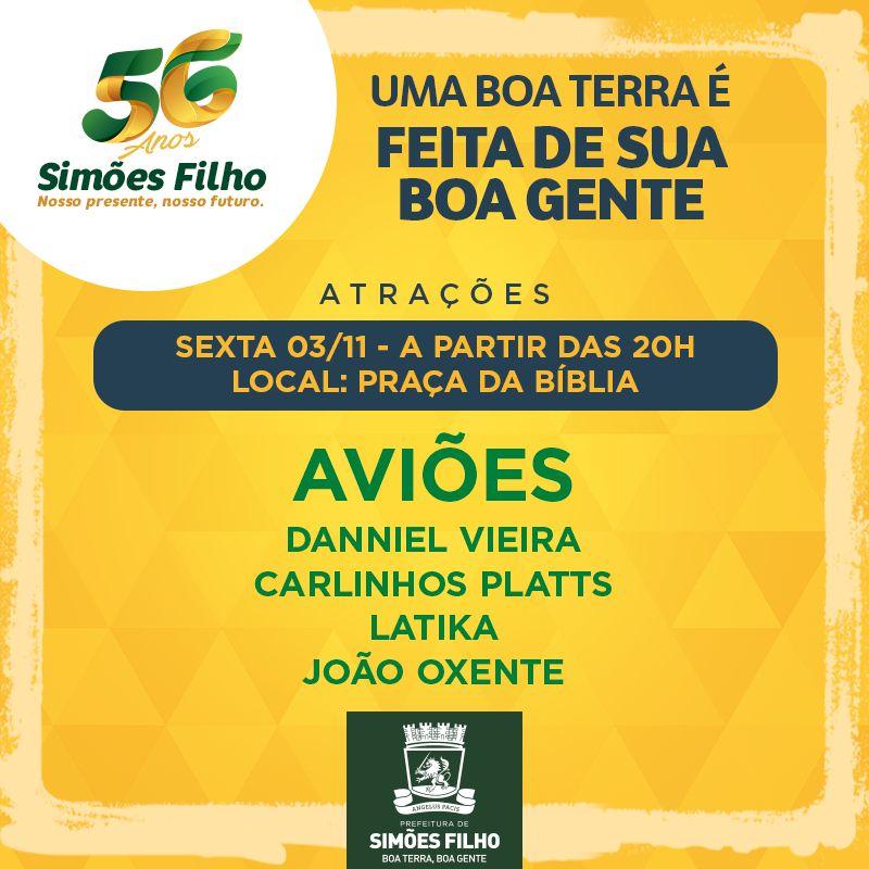 Simões Filho comemora 56 anos com programação especial