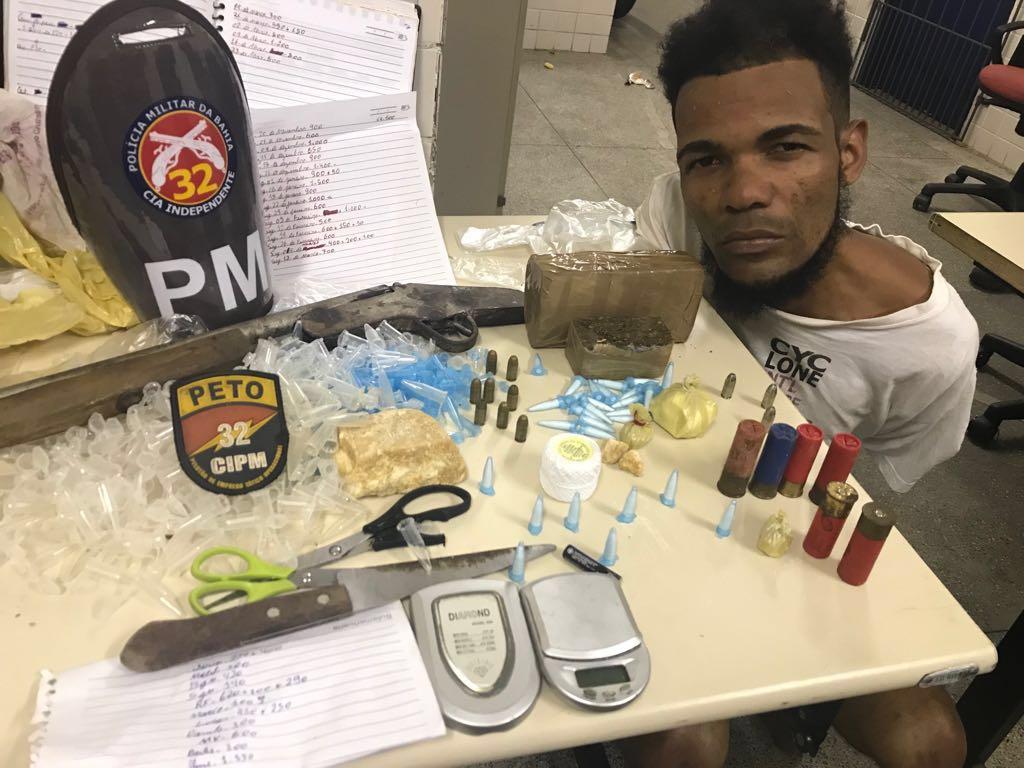 Homem é flagrado com munições e drogas em Pojuca