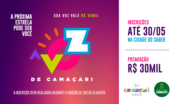 Abertas as inscrições para o 1º Concurso Cultural A Voz de Camaçari