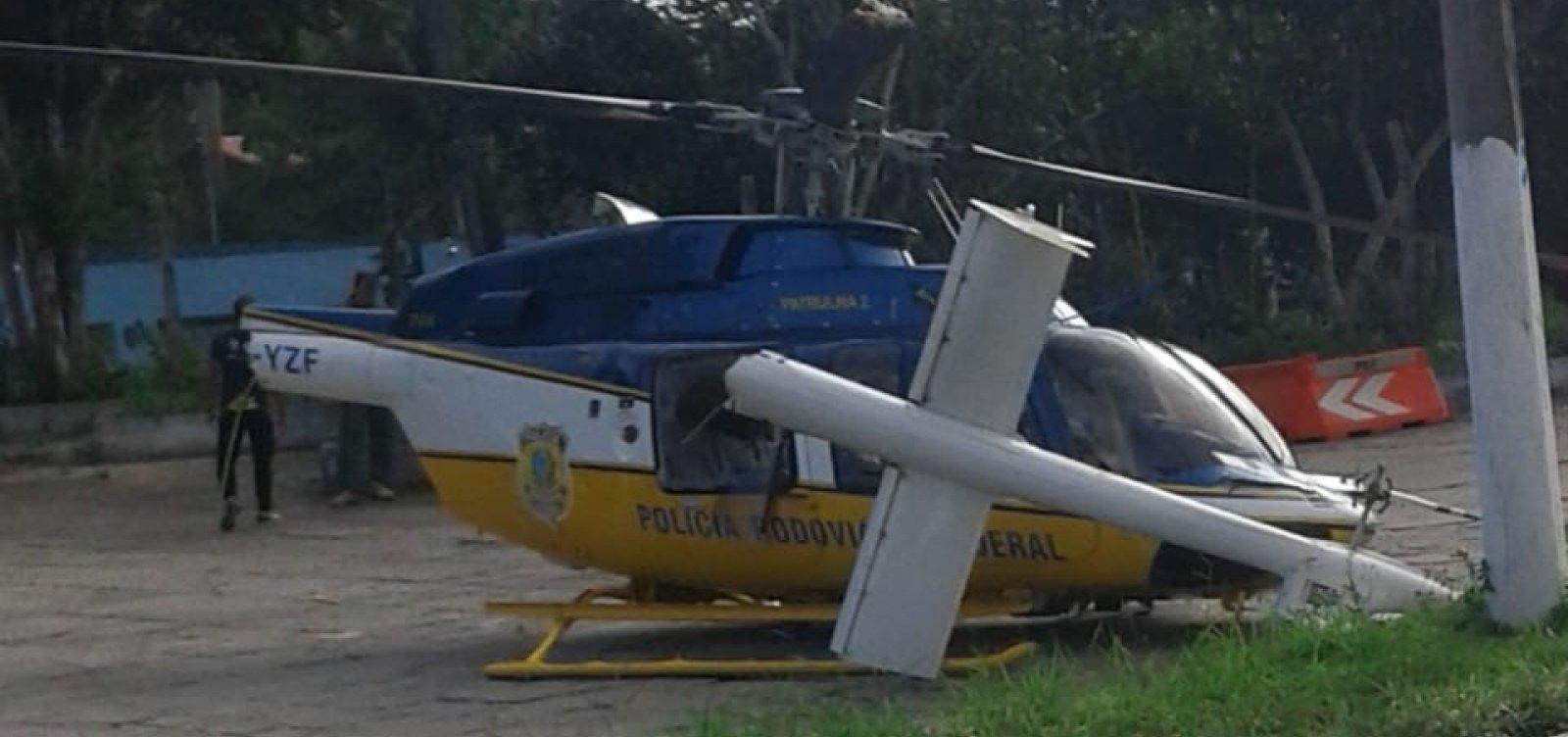 No sul da Bahia, Helicóptero da PRF colide com placa ao tentar pousar