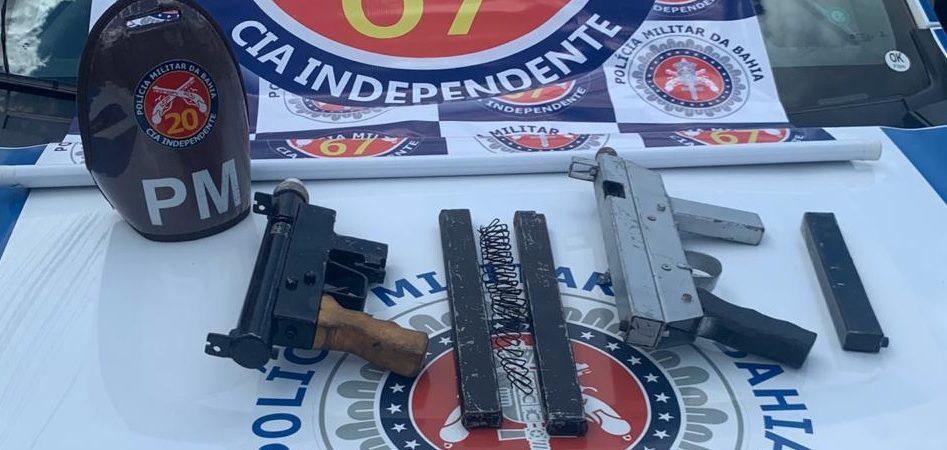 Duas metralhadoras são apreendidas em Feira de Santana; uma mulher foi presa