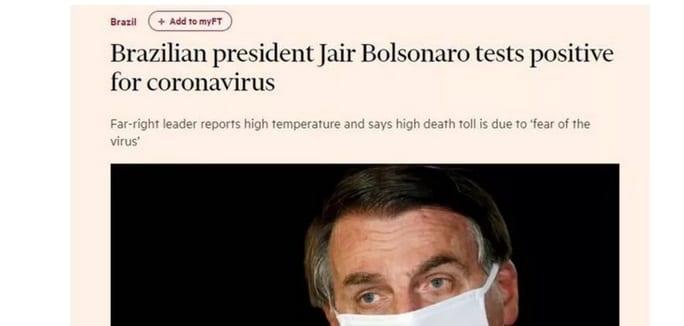 Após confirmar infecção pela Covid-19, imprensa internacional aponta negacionismo de Bolsonaro