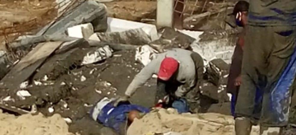 Homem fica com parte do corpo preso em escombros após laje desabar em Vera Cruz
